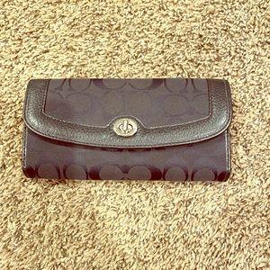 Black Coach Tri-Fold Wallet
